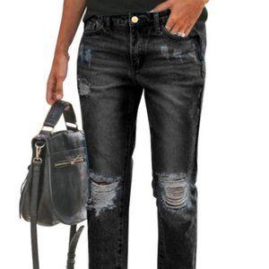 new Women Distressed Grey Slim Fit Denim Jeans XL - 36
